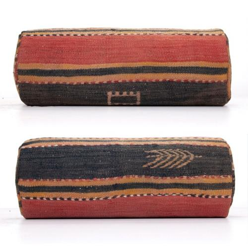 Anatolian Vintage Cylinder Kilim Cushion Embroidered Decorative Pillow