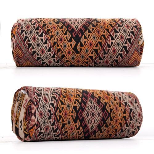 Diamond Design Bolster Anatolian Kilim Cushion Embroidered Throw Pillow