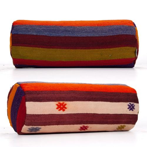 Embroidered Colorful Kilim Pillow Cylinder Striped Bolster Sofa Throw