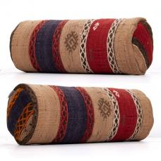 Embroidered Ethnic Cylinder Kilim Pillow Anatolian Bolster Sofa Throw