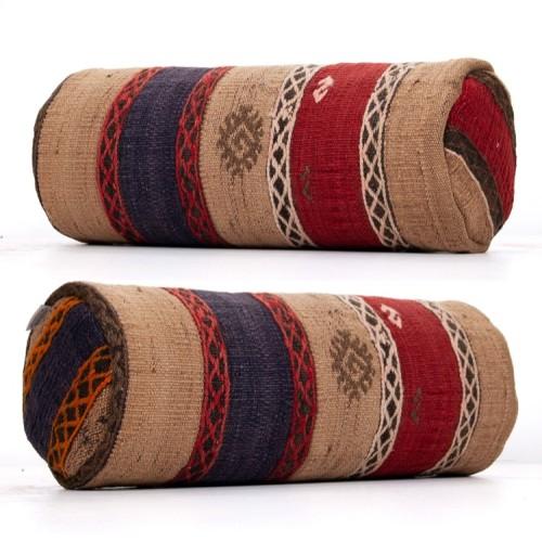 Embroidered Ethnic Cylinder Kilim Pillow Anatolian Bolster Sofa Throw