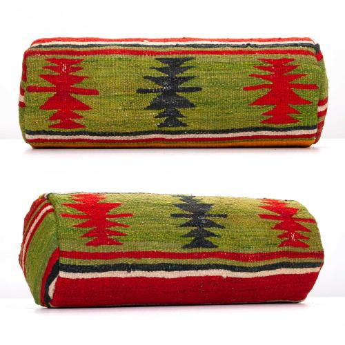 Oriental Bolster Kilim Pillow Colorful Anatolian Cylinder Sofa Throw