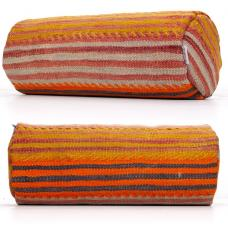 Striped Anatolian Bolster Kilim Pillow Orange Lumbar Cylinder Cushion
