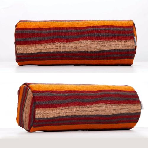 Striped Round Pillow Cylinder Handmade Sofa Throw Bolster Kilim Cushion