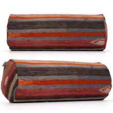 Vintage Cylinder Kilim Pillow Ethnic Striped Bolster Sofa Decor Cushion
