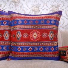 Kilim Pattern Square Pillow Decorative Turkish Cotton Red & Blue Cushion