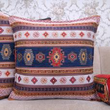 Decorative White~Blue Square Kilim Pillow Turkish Woven Home Decor Throw