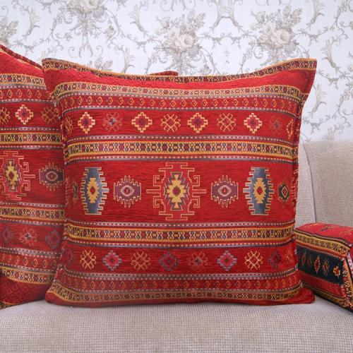 Red Kilim Rug Pattern Pillow Decorative Turkish Square Cotton Cushion