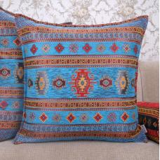 Decorative Turquoise Kilim Pillow Woven Turkish Square Cotton Cushion