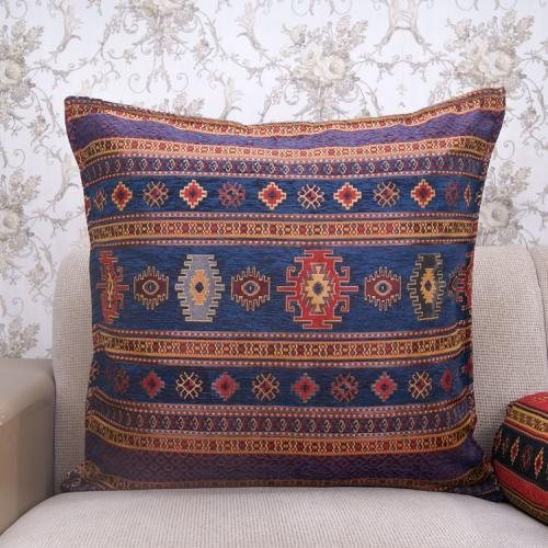 Navy Blue Decorative Kilim Pillow Turkish Cotton Interior Decor Cushion