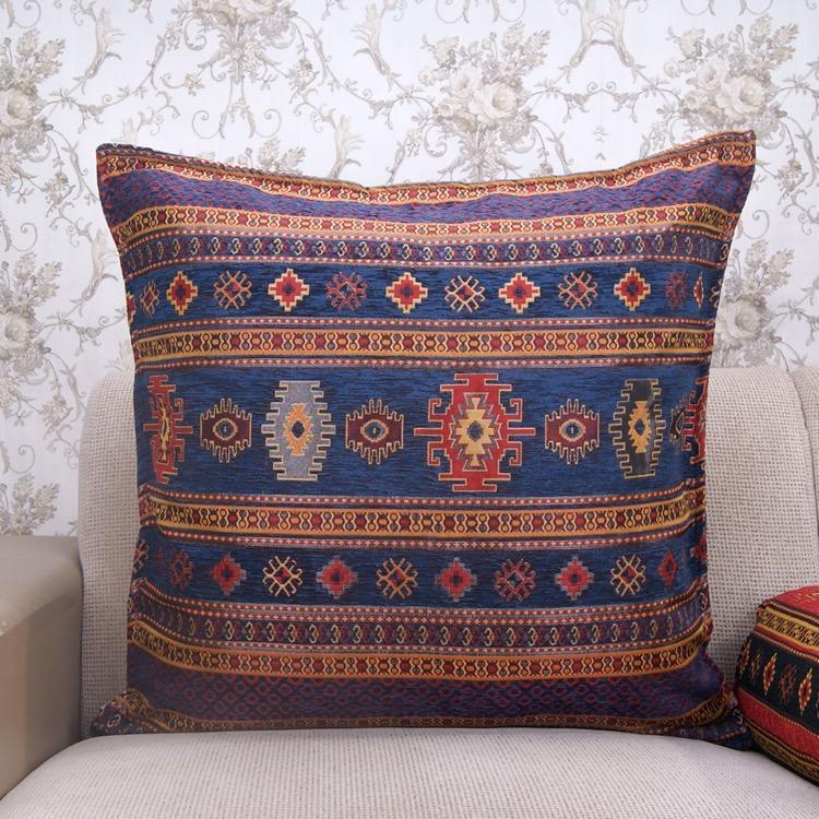 Navy Blue Decorative Kilim Pillow Turkish Cotton Interior