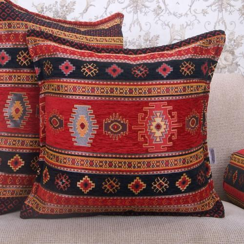 Black~Red Turkish Kilim Cushion Woven Decorative Square Rug Throw Pillow