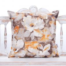 Floral Oil Paint Design Pillow Decorative Orange & Brown Square Cushion