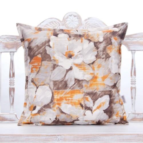 Floral Oil Paint Design Pillow Decorative Orange & Brown Square Cushion