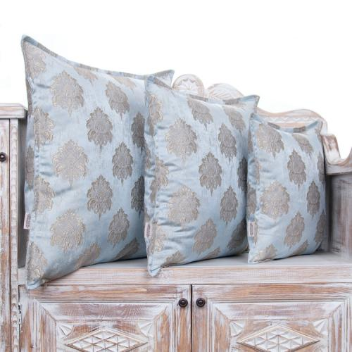 Ice Blue Decorative Square Pillow Sateen Tapestry Accent Decor Cushion