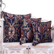 Decorative Navy Blue Tulip Pattern Square Pillow Ottoman Sofa Decor Throw