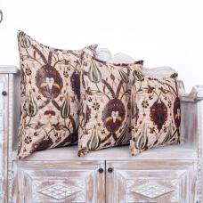 Tulip Pattern Cream Pillow Decorative Square Woven Sofa Couch Throw Pillows