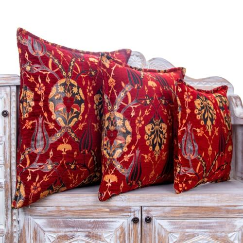 Decorative Red Tulip Pattern Pillow Turkish Cotton Woven Square Cushion