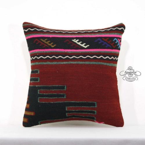 Anatolian Cottage Chic Pillow Cover 16x16 Turkish Vintage Kilim Rug Cushion Sham