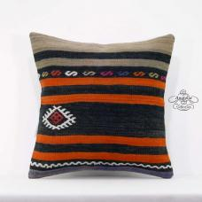 "Anatolian Kilim Pillow Cover 16x16"" Turkish Striped Pillowcase Kelim Rug Cushion"