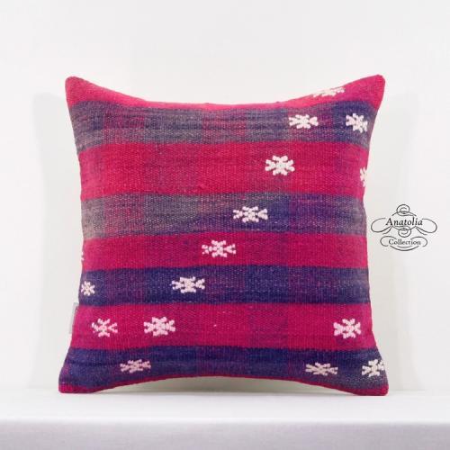 "Bohemian Style Embroidered Kilim Pillow 16x16"" Turkish Vintage Rug Cushion Throw"