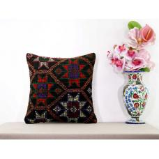 Cottage Chic Kilim Pillow Embroidered Retro Ethnic Turkish Kelim Rug Cushion 16x16""