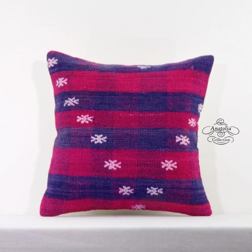 "Designer Kilim Pillow Cover Bohemian Style Decor Turkish Rug Cushion Sham 16x16"""