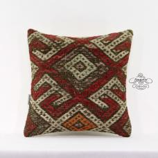 Embroidered Vintage Kilim Pillow Eclectic Turkish Handmade Cushion Cover 16x16""