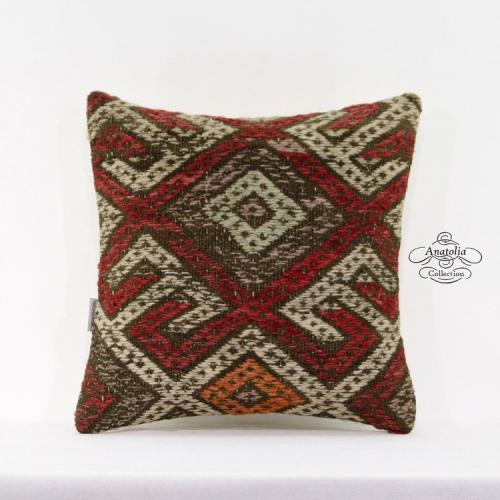 """Embroidered Vintage Kilim Pillow Eclectic Turkish Handmade Cushion Cover 16x16"""""""