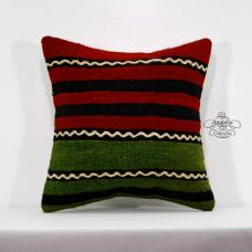 Green Striped Kilim Cushion Cover Ethnic Handmade Turkish Red Pillow Sham 16x16""
