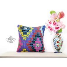 Gypsy Boho Chic Pillow Cover Turkish Embroidered Kilim Rug Cushion Colorful Sham