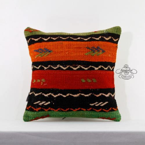 """Handcrafted Anatolian Kilim Pillow Sham 16x16"""" Embroidered Turkish Cushion Cover"""