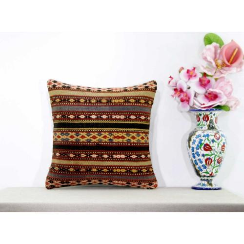"Interior Designing Aztec Kilim Pillow Living Room Decor 16"" Sham Natural Cushion"