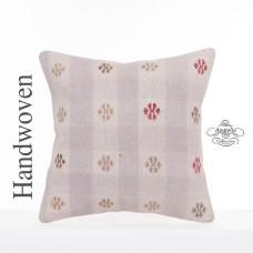 """Embroidered Kilim Pillowcase Anatolian Vintage Pillow 16x16"""" Kelim Cushion Cover"""