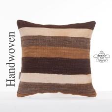Ethnic Striped Kilim Rug Pillow Turkish Vintage Kelim Cushion Cover Sofa Throw