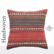 """Vintage Turkish Kilim Rug Throw Pillowcase 16"""" Anatolian Retro Pillow"""