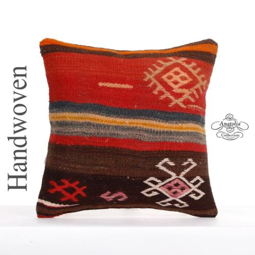 """Oriental Embroidered Kilim Pillow 16x16"""" Antique Art Handwoven Rug Cushion Cover"""