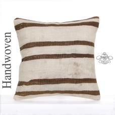 "Shabby Antique Kilim Pillow Striped White 16x16"" Vintage Kelim Rug Cushion Cover"