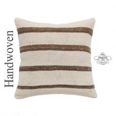 "White Kilim Pillow Cover 16x16"" Striped Cottage Chic Turkish Rug Cushion Sofa Throw"