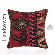 "Bohemian Vintage Decor Pillow 16x16"" Handmade Turkish Kilim Throw"