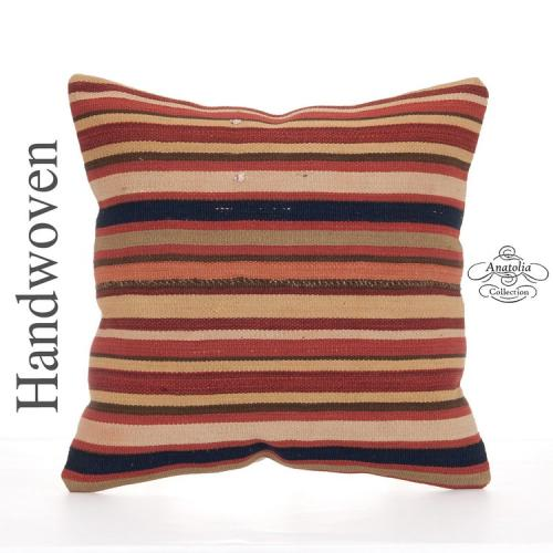 "Striped Handwoven Kilim Pillow 16"" Vintage Turkish Decorative Cushion"