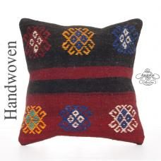 "Embroidered Retro Kilim Pillowcase 16"" Decorative Turkish Rug Cushion"