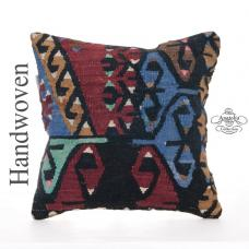 "Rare Anatolian Kilim Pillow Geometric Tribal Handmade 16x16"" Cushion"