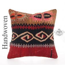 Unique Bohemian Decor Throw Pillow 16x16 Vintage Turkish Kilim Cushion