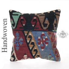 "Decorative Anatolian Kilim Pillow 16x16"" Rare Tribal Turkish Cushion"