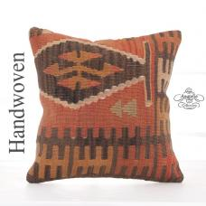 "Tribal Anatolian Kilim Pillow 16x16"" Retro Decor Accent Square Cushion"