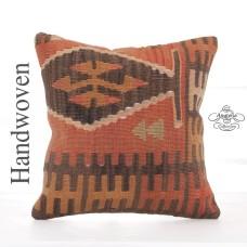 "Tribal Anatolian Kilim Pillow 16x16"" Retro Decor Accent Square Cushion"