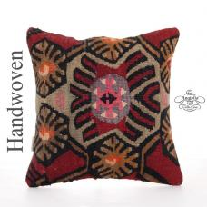 "Unique Designer Kilim Pillow 16x16"" Interior Decor Accent Sofa Throw"