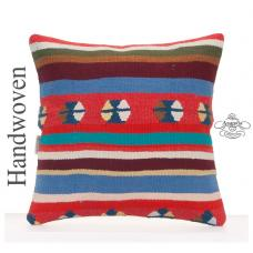 "Colorful Tribal Kilim Pillow Cover 16x16"" Square Striped Hand Woven Cushion"
