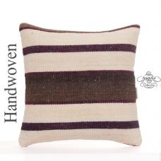 "Striped Square Pillow Cover 16x16"" White Cottage Decor Kilim Cushion Sofa Throw"